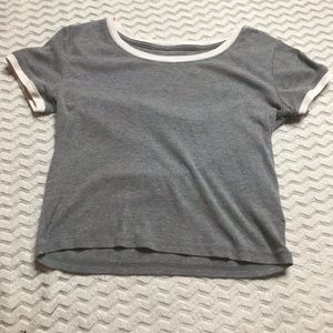 "Aeropostale ""Baby Tee"" Soft Crop Top White & Gray"